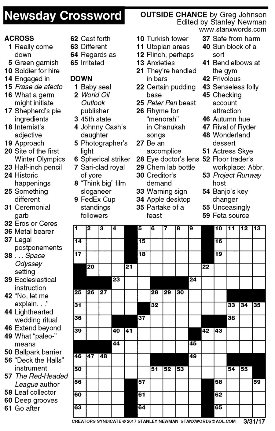 Newsday Crossword Puzzle For Mar 31, 2017,stanley Newman - Printable Crossword Newsday