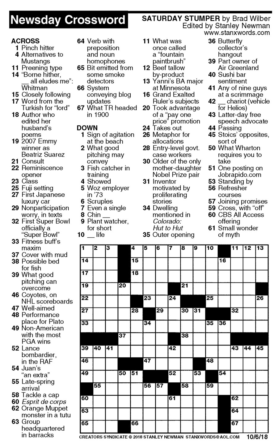 Newsday Crossword Puzzle For Oct 06, 2018,stanley Newman - Printable Crossword Newsday