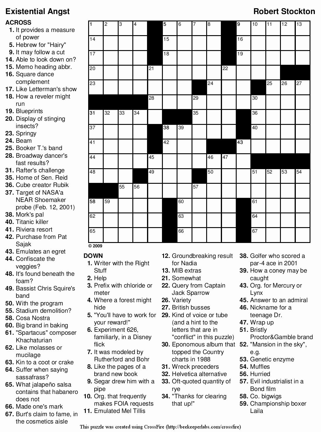 Newspaper Printable Crossword Puzzles - Masterprintable - Printable Crossword Puzzles By Jacqueline Mathews