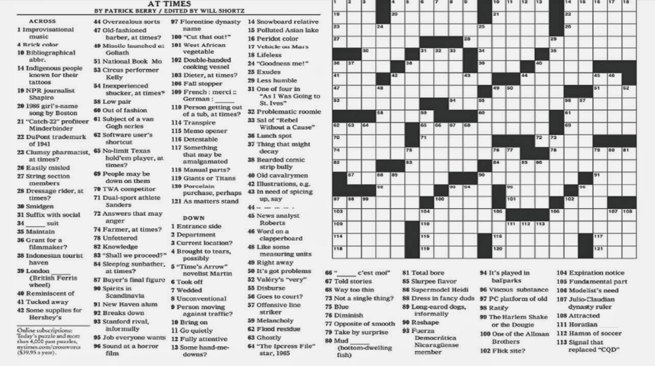 Noli Insipientium Iniurias Pati: New York Times Crossword Clue - New - New York Crossword Puzzle Printable