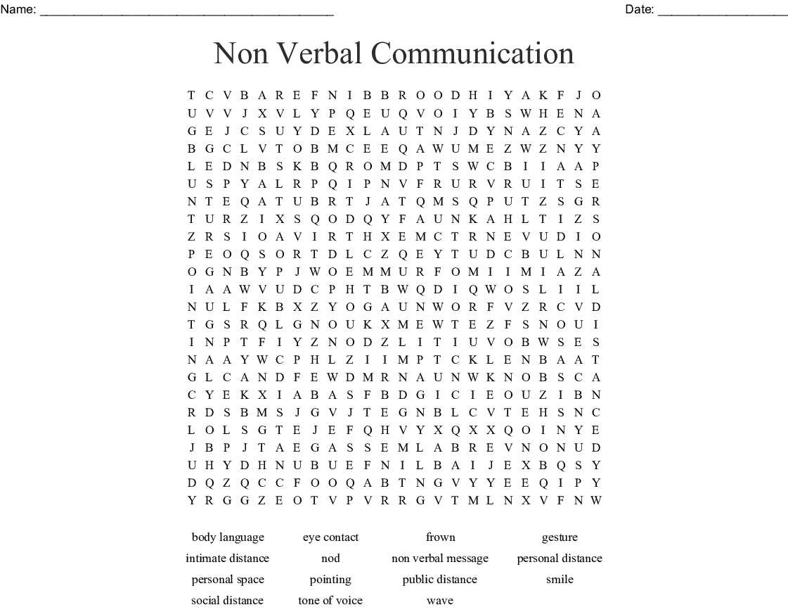 Non Verbal Communication Word Search - Wordmint - Printable Communication Crossword Puzzle