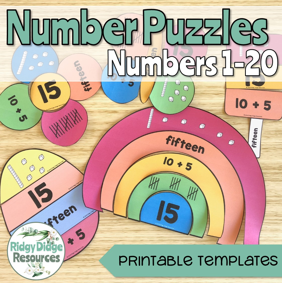 Number Puzzles 1-20 - Ridgy Didge Resources - Printable Rainbow Number Puzzle