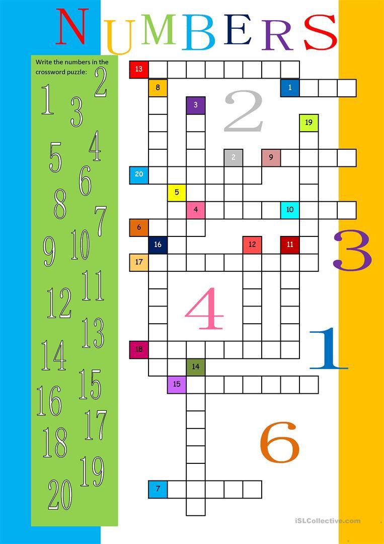Numbers 1-20 Crossword Worksheet - Free Esl Printable Worksheets - Number Crossword Puzzles Printable