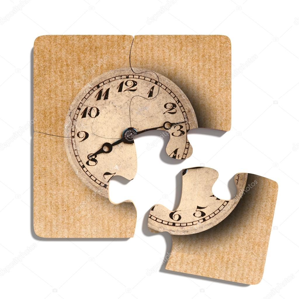 Old-Fashioned Clock Print On Puzzle Pieces — Stock Photo © Erllre - Print On Puzzle