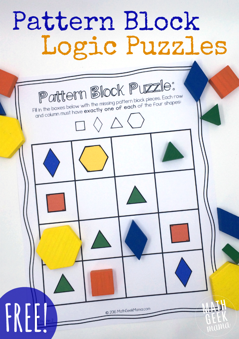 Pattern Block Puzzles {Free} - Printable Thinking Puzzles