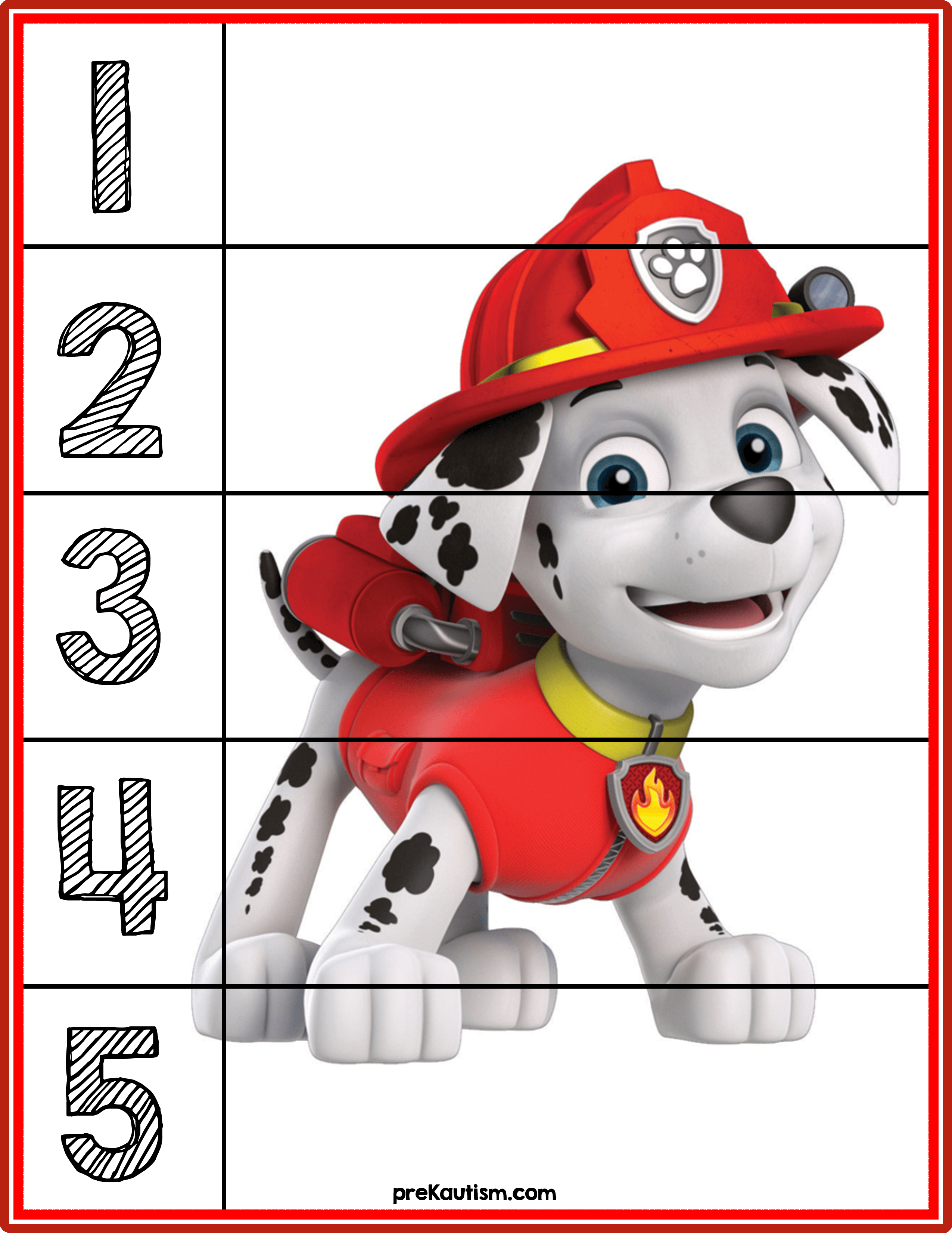 Paw Patrol Puzzles | Prekautism | Counting Puzzles, Toddler - Printable Toddler Puzzles