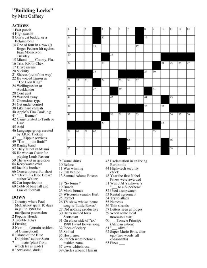 Printable Easy Crossword Puzzles Pdf