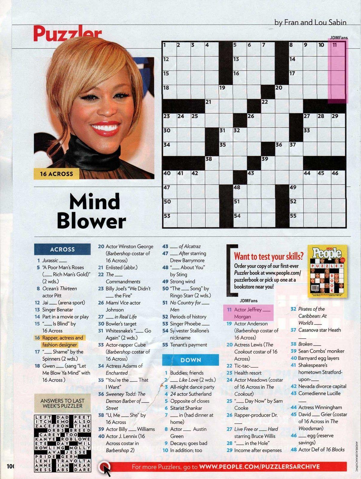 People Magazine Crossword Puzzles To Print | Puzzles In 2019 - Printable People Magazine Crossword Puzzles