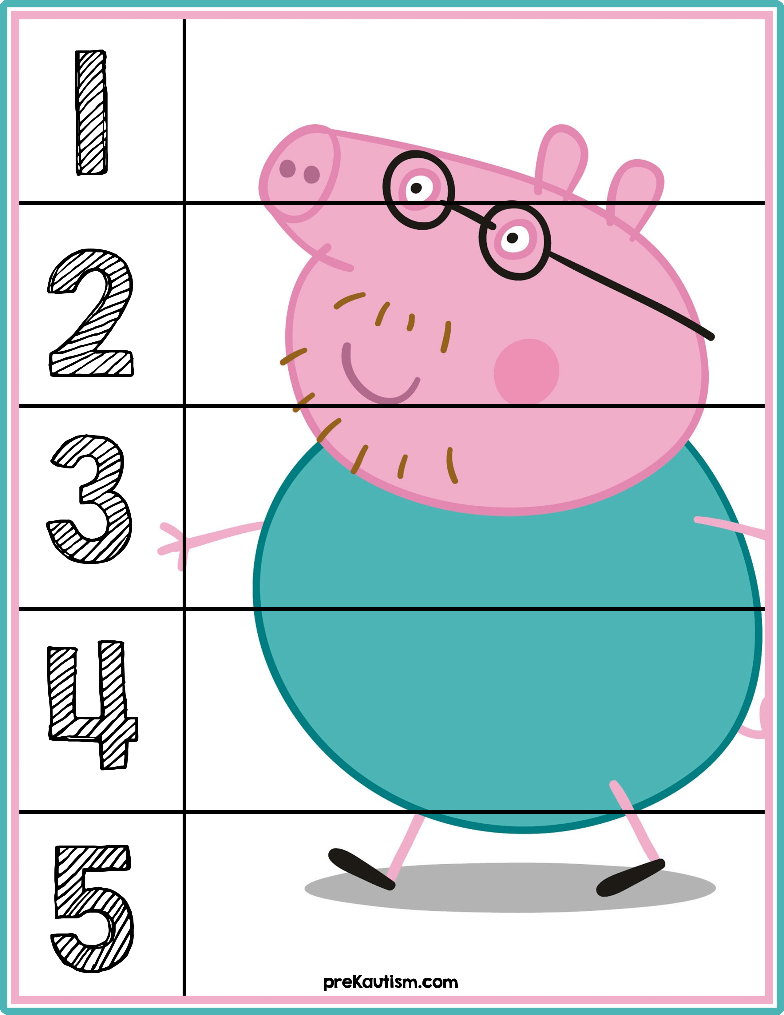 Peppa Pig Number Puzzles #'s 1-5   Autism Activities For Ages 3-5 - Printable Puzzles For Toddlers