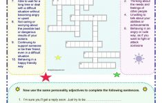 Personality Adjectives Worksheet – Free Esl Printable Worksheets – Adjectives Crossword Puzzle Printable