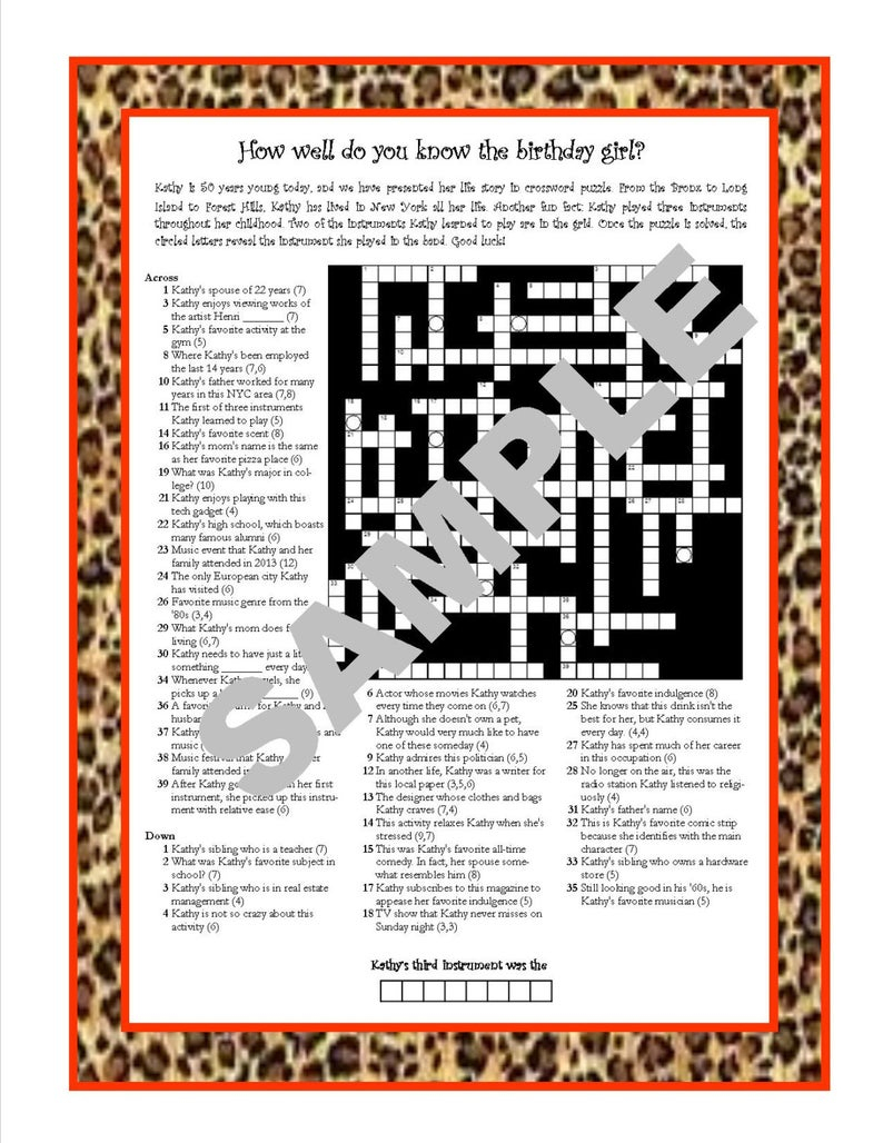 Personalized Printable Crossword Puzzle Featuring Fun Facts | Etsy - Baseball Crossword Puzzle Printable