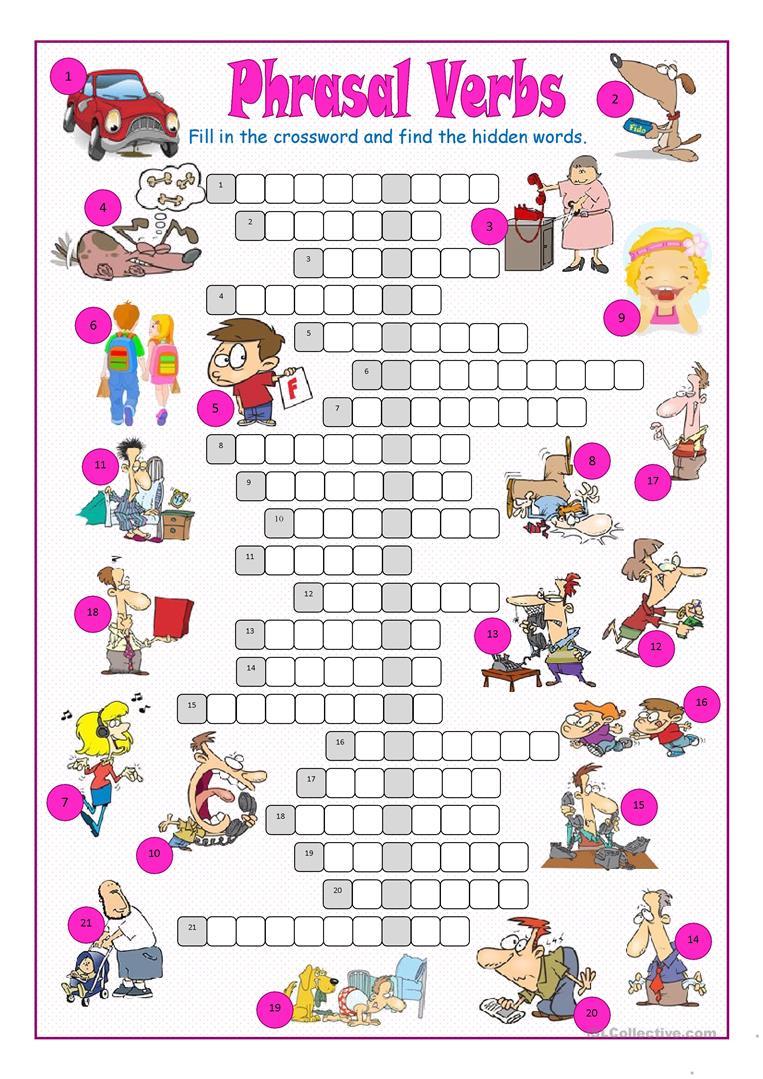 Phrasal Verbs Crossword Puzzle Worksheet - Free Esl Printable - Printable Grammar Crossword Puzzles