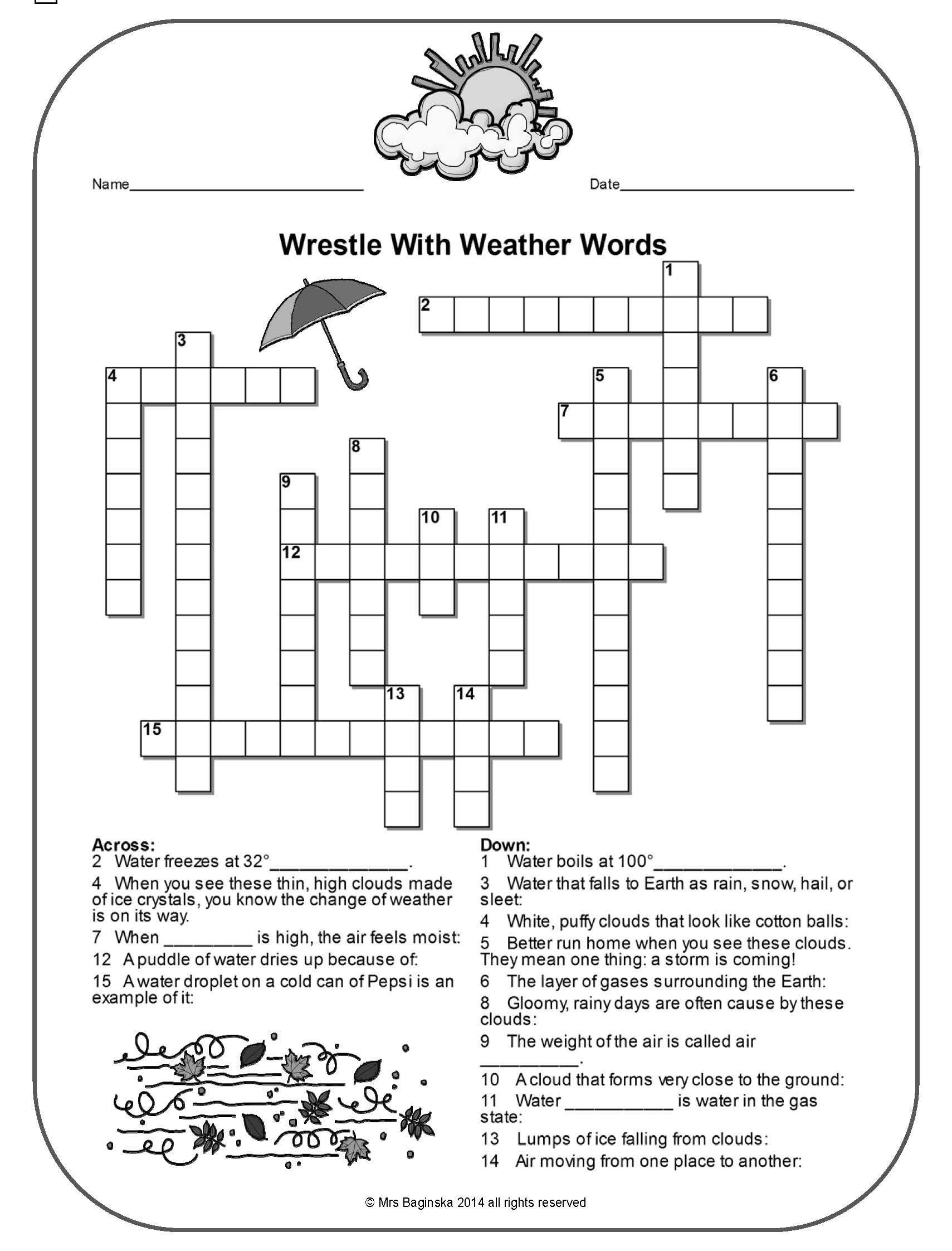 Pina Demanding 4Th Grade Teacher On Tpt Free Lessons | Weather - Printable Weather Crossword Puzzle