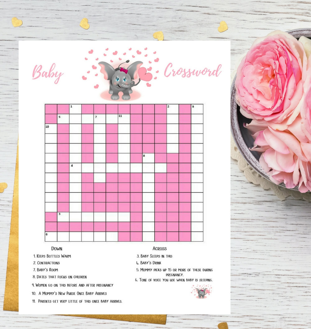 Pink Elephant Baby Shower Crossword Puzzle Printable Game | Etsy - Printable Baby Shower Crossword Puzzle Game