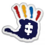 Pinmart's Autism Awareness Puzzle Piece And Hand Print Enamel Lapel   Printable Puzzle Piece Autism
