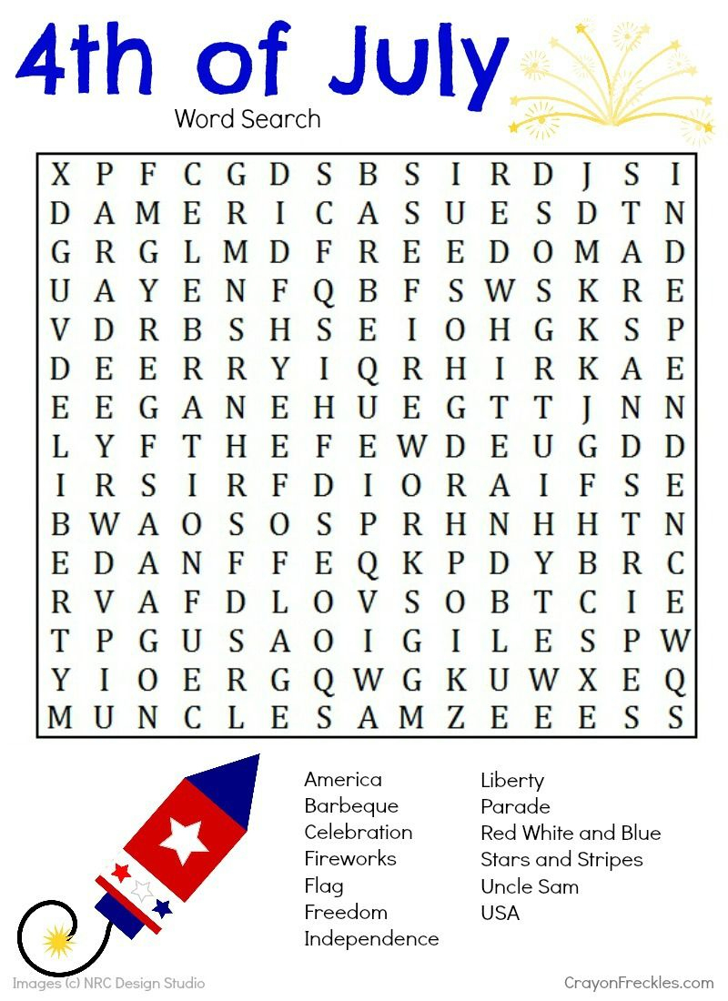 Pinterest - Printable Fourth Of July Crossword Puzzles