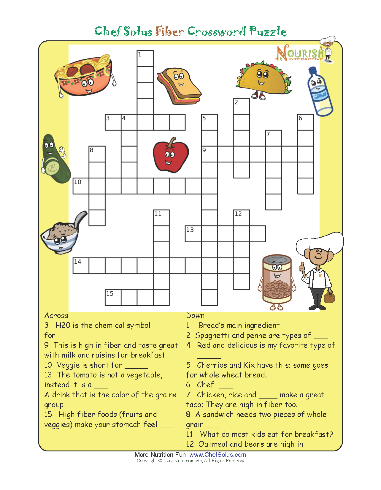 Pinthe Kids Cook Monday On Activities | Printable Crossword - Printable Nutrition Puzzles