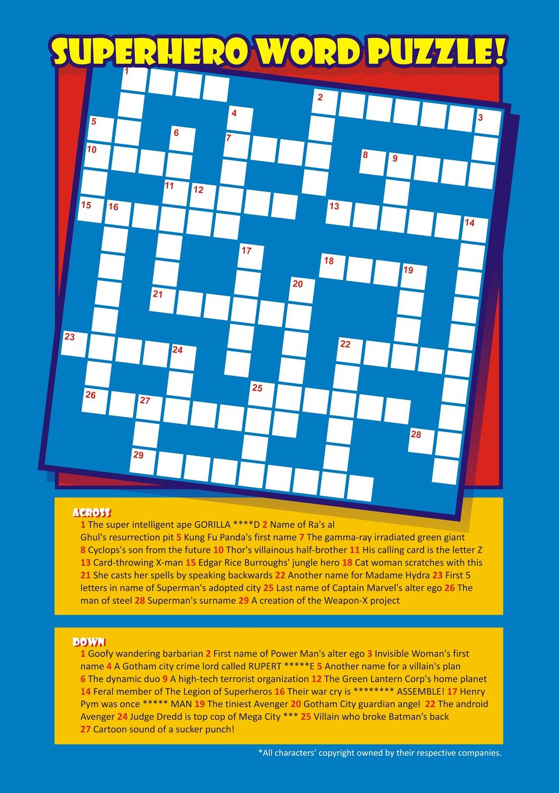 Pizzazz!: Superhero Crossword Puzzle! - Printable Superhero Crossword Puzzle