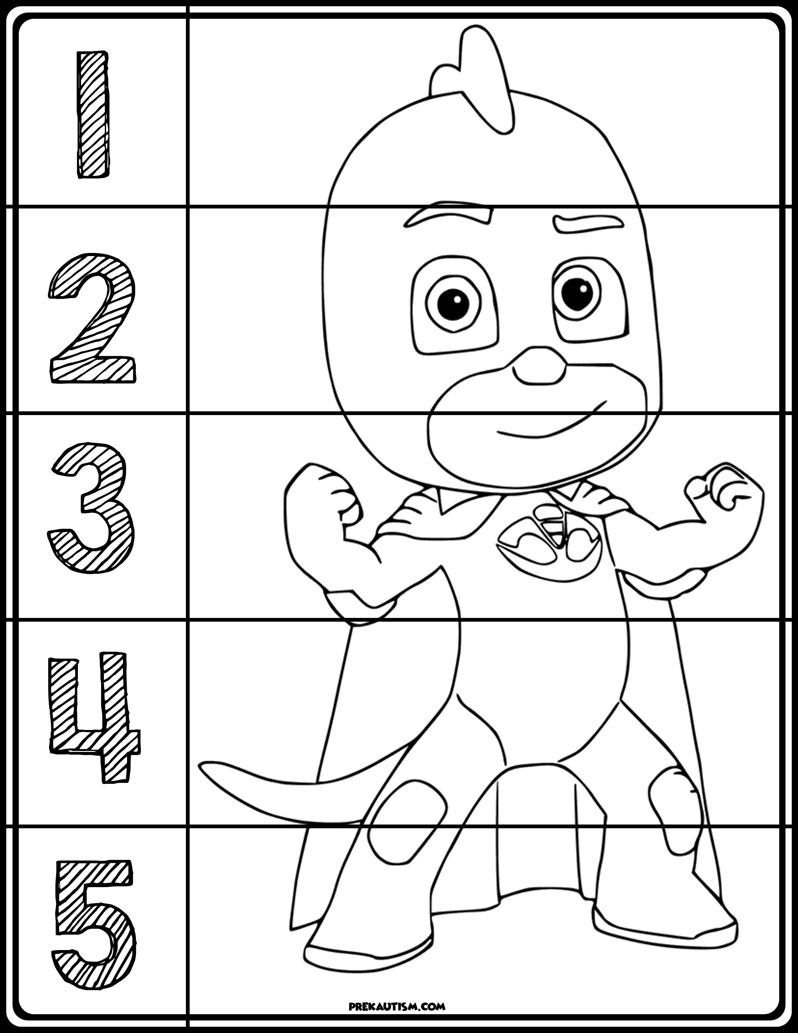 Pj Masks Coloring Number Puzzles | My Tpt Store | Pj Mask, Numbers - Printable Face Puzzle