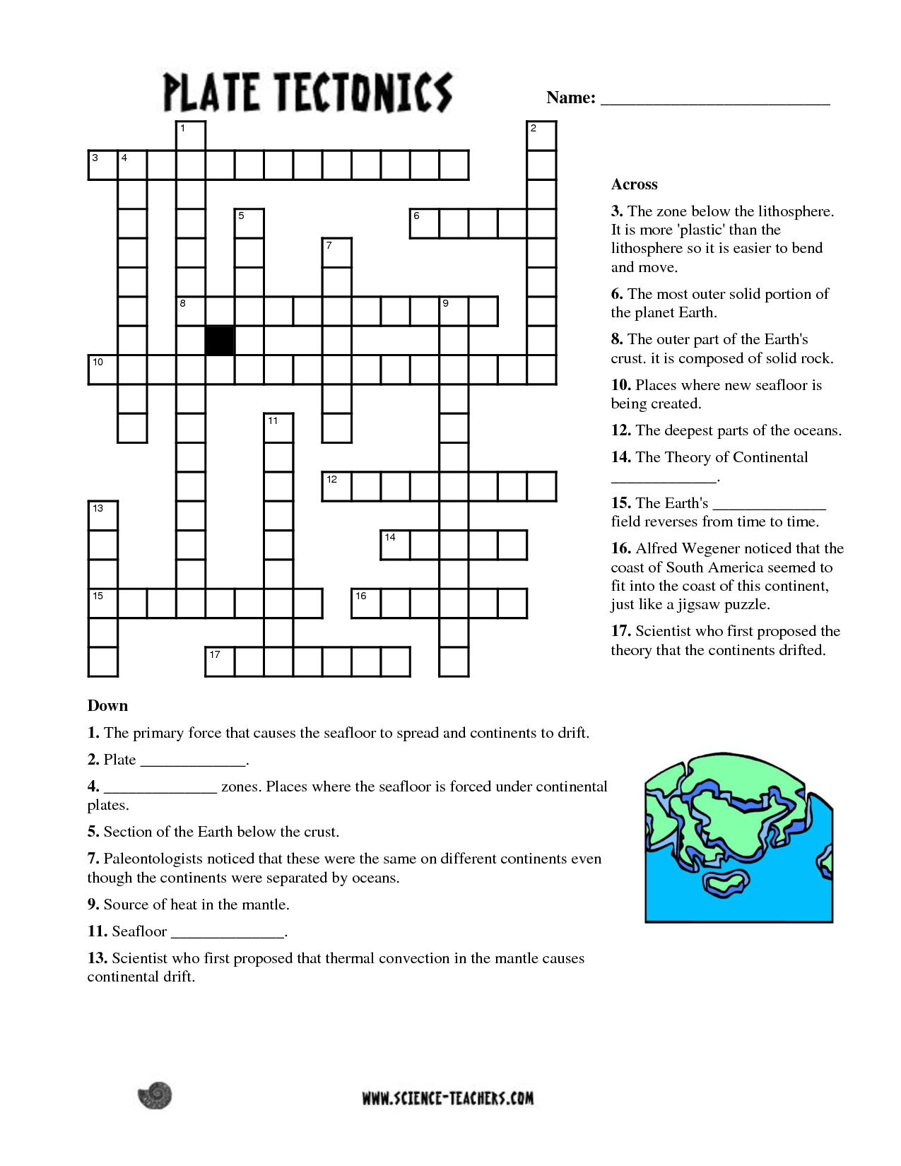 Planets Crossword Puzzle Worksheet - Pics About Space   Fun Science - Printable Puzzle South America