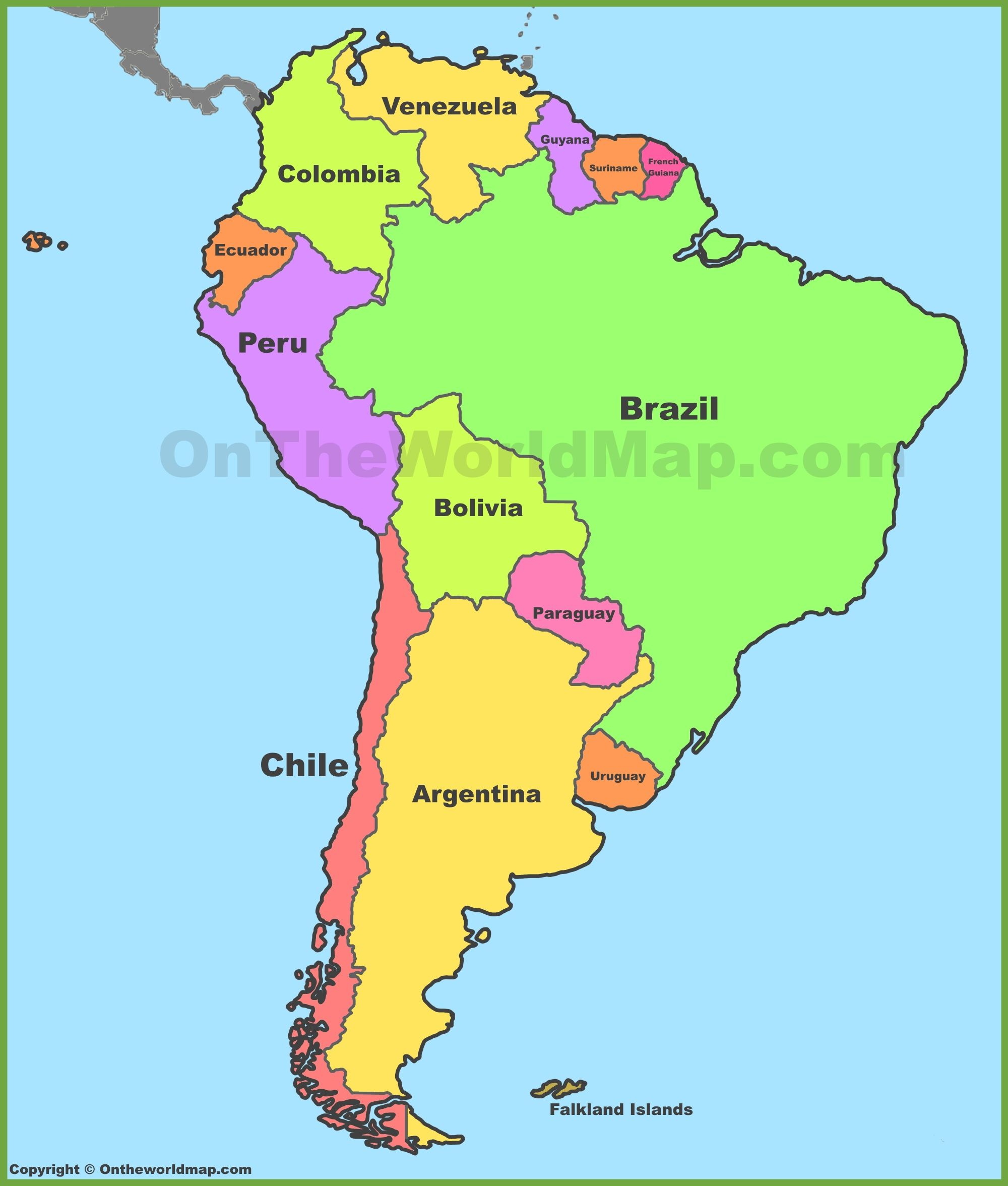 Political Map Of South America   Cool Map   South America Map, Latin - Printable Puzzle South America