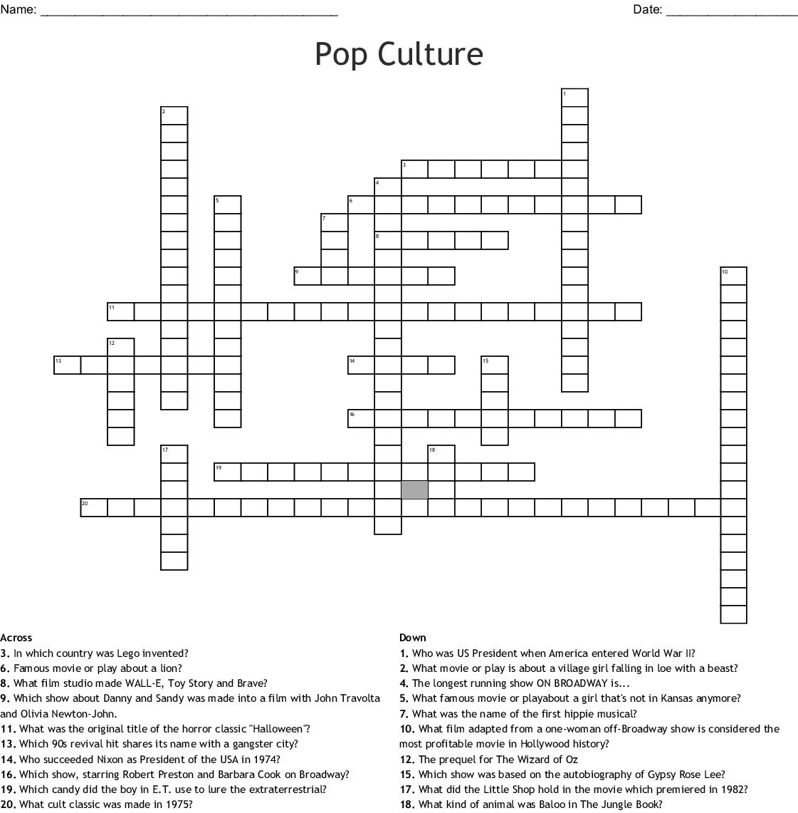 Pop Culture Crossword - Wordmint - Pop Culture Crossword Puzzles Printable