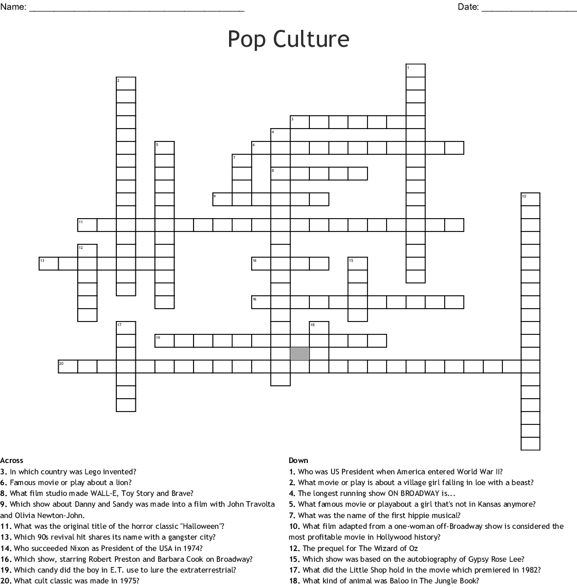 Pop Culture Crossword - Wordmint - Printable Crossword Puzzles Pop Culture