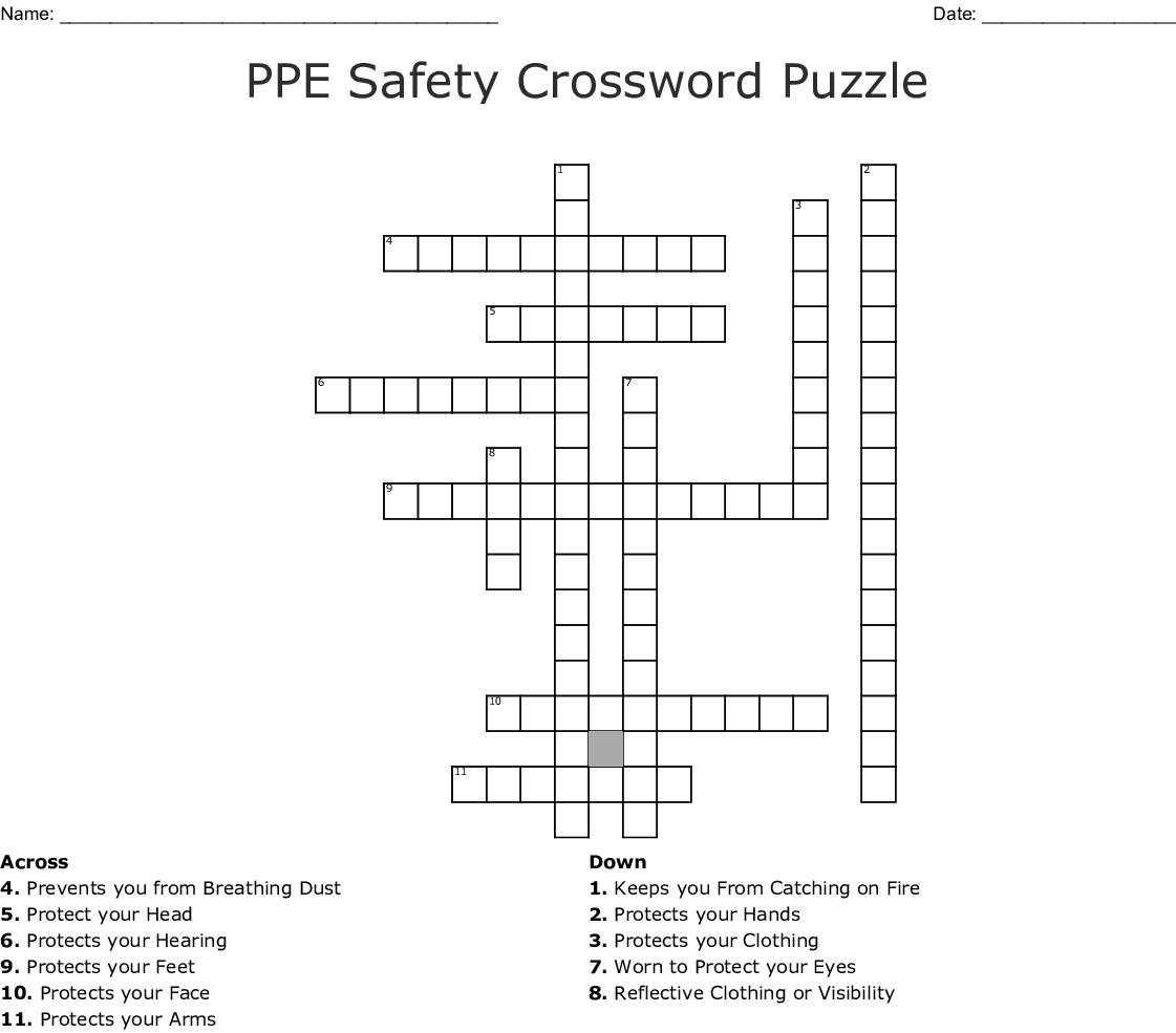 Ppe Safety Crossword Puzzle Crossword - Wordmint - Fire Safety Crossword Puzzle Printable