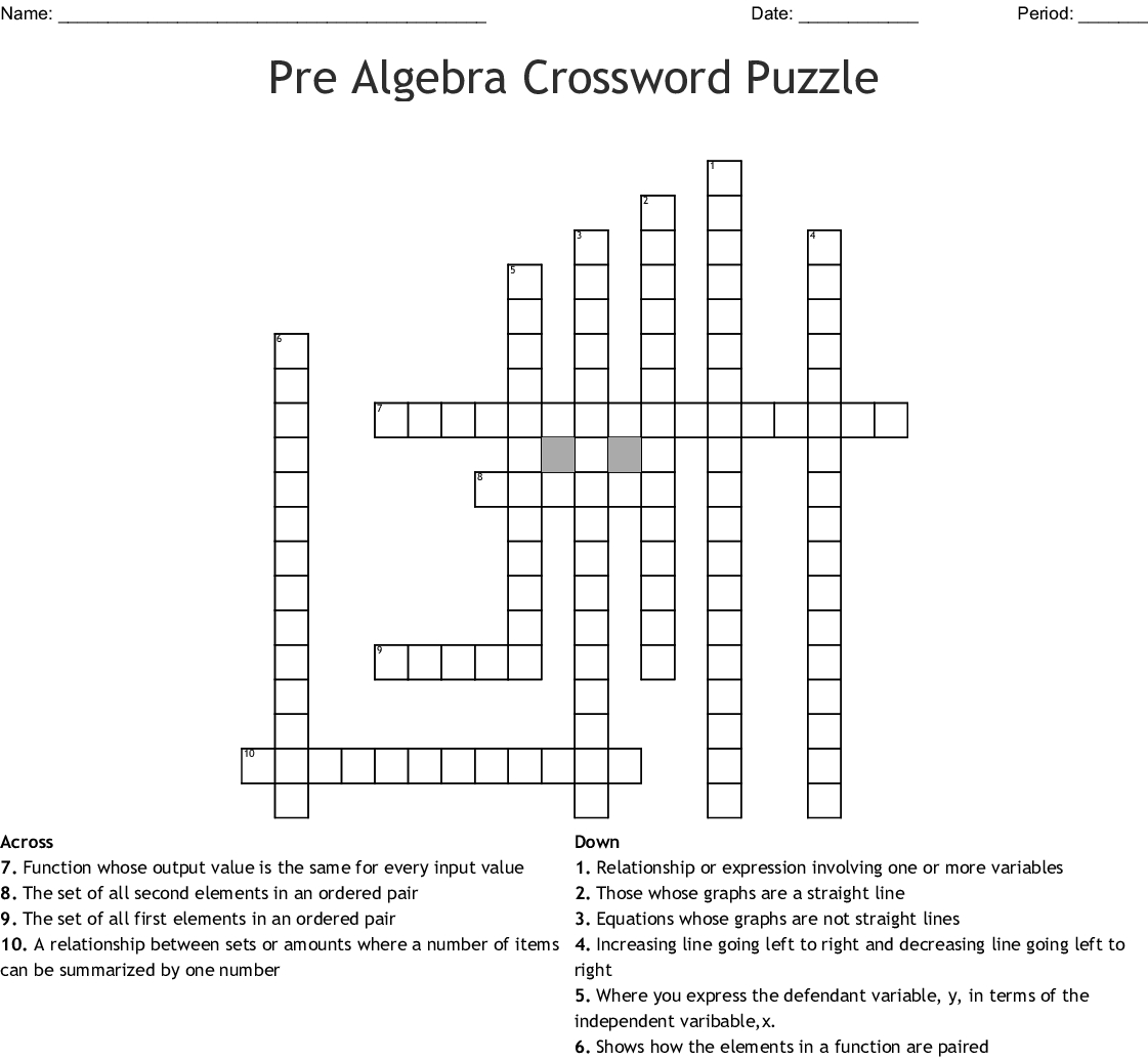 Pre Algebra Crossword Puzzle Crossword - Wordmint - Algebra Crossword Puzzle Printable