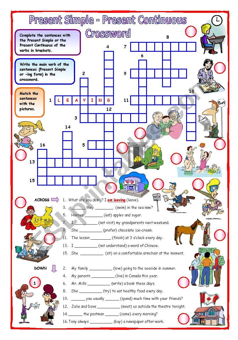 Present Simple - Present Continuous Crossword - Esl Worksheetmpotb - Printable Crossword Puzzles Simple Present