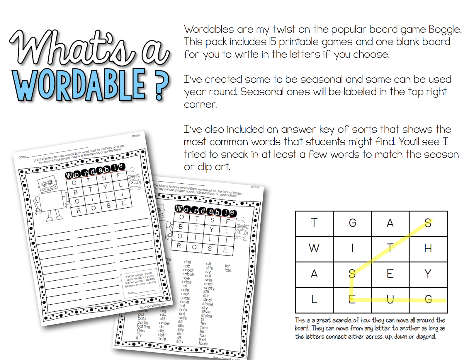 Printable Boggle Puzzles - Great For Word Work, Early Finishers - Printable Boggle Puzzle