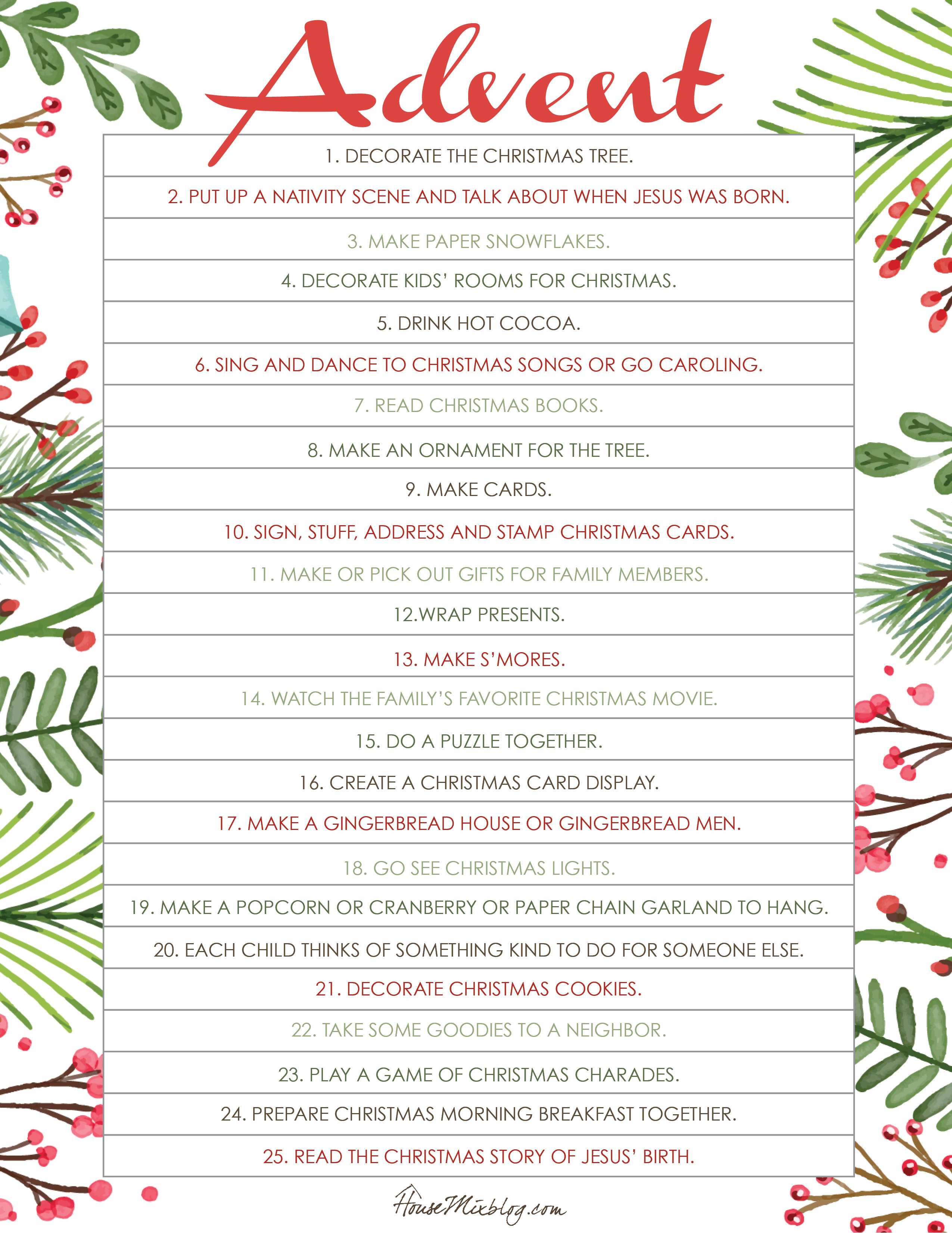 Printable Christmas Activities For Advent | House Mix - Printable Advent Puzzle