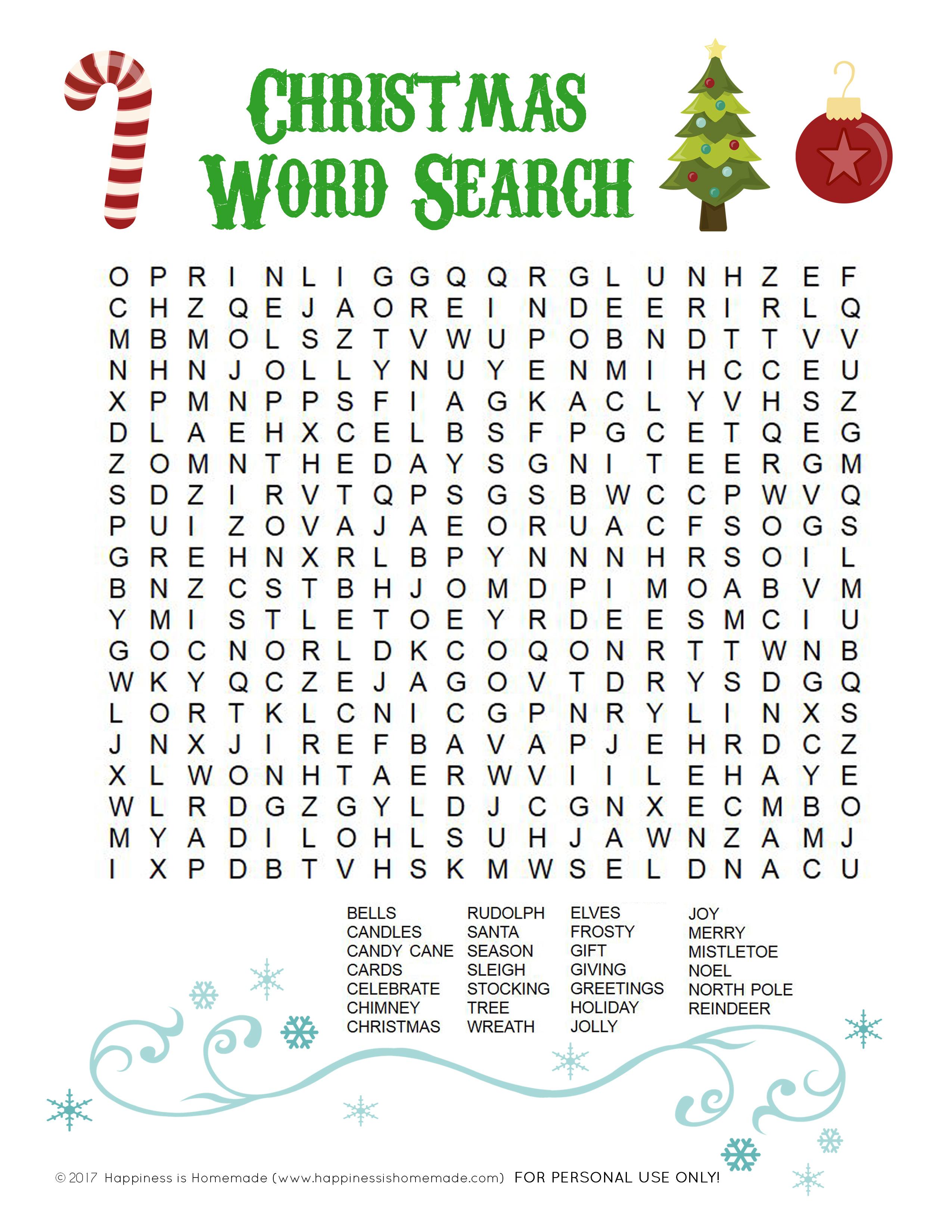 Printable Christmas Word Search For Kids & Adults - Happiness Is - Printable Christmas Word Puzzle
