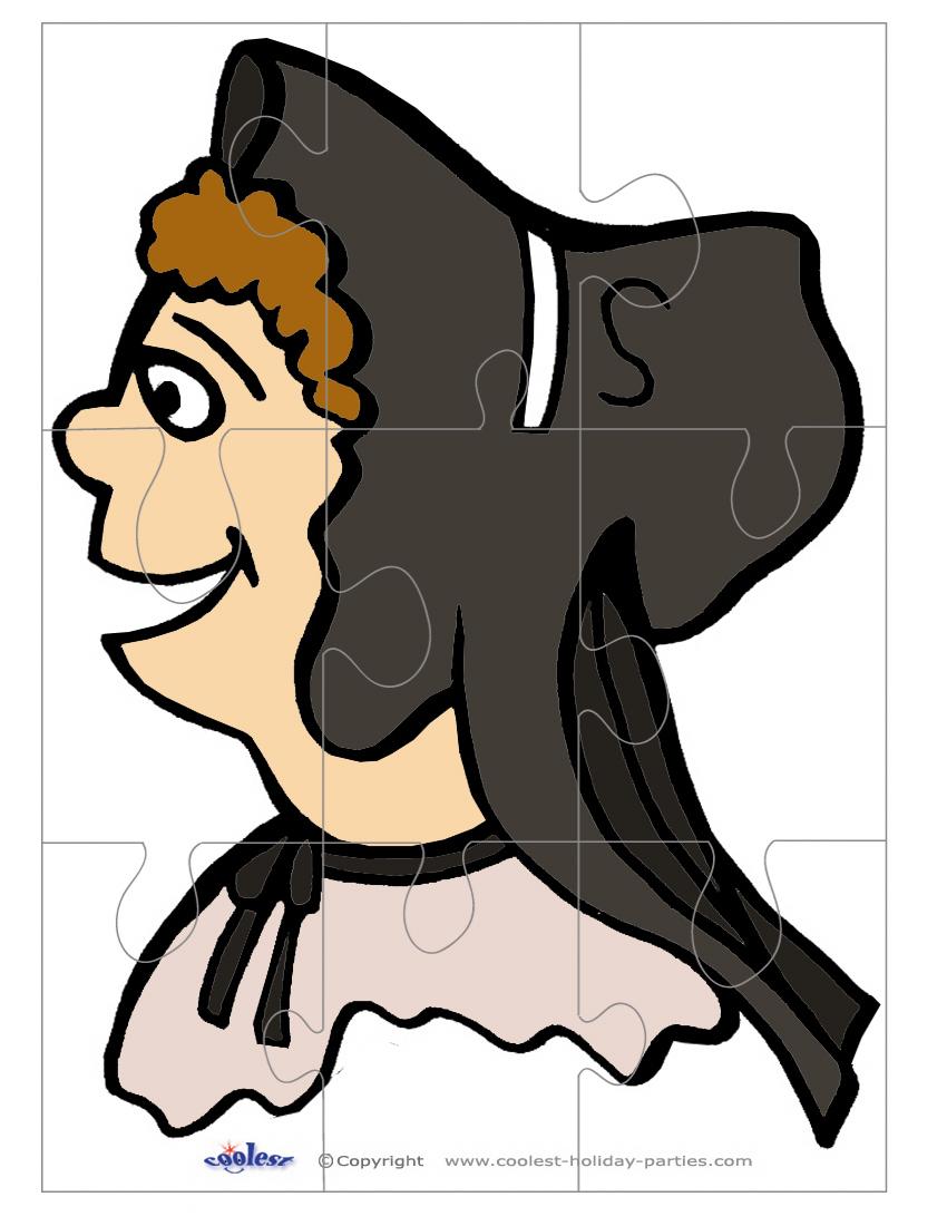 Printable Colored Pilgrim Face 3 Large-Piece Puzzle - Printable Face Puzzle