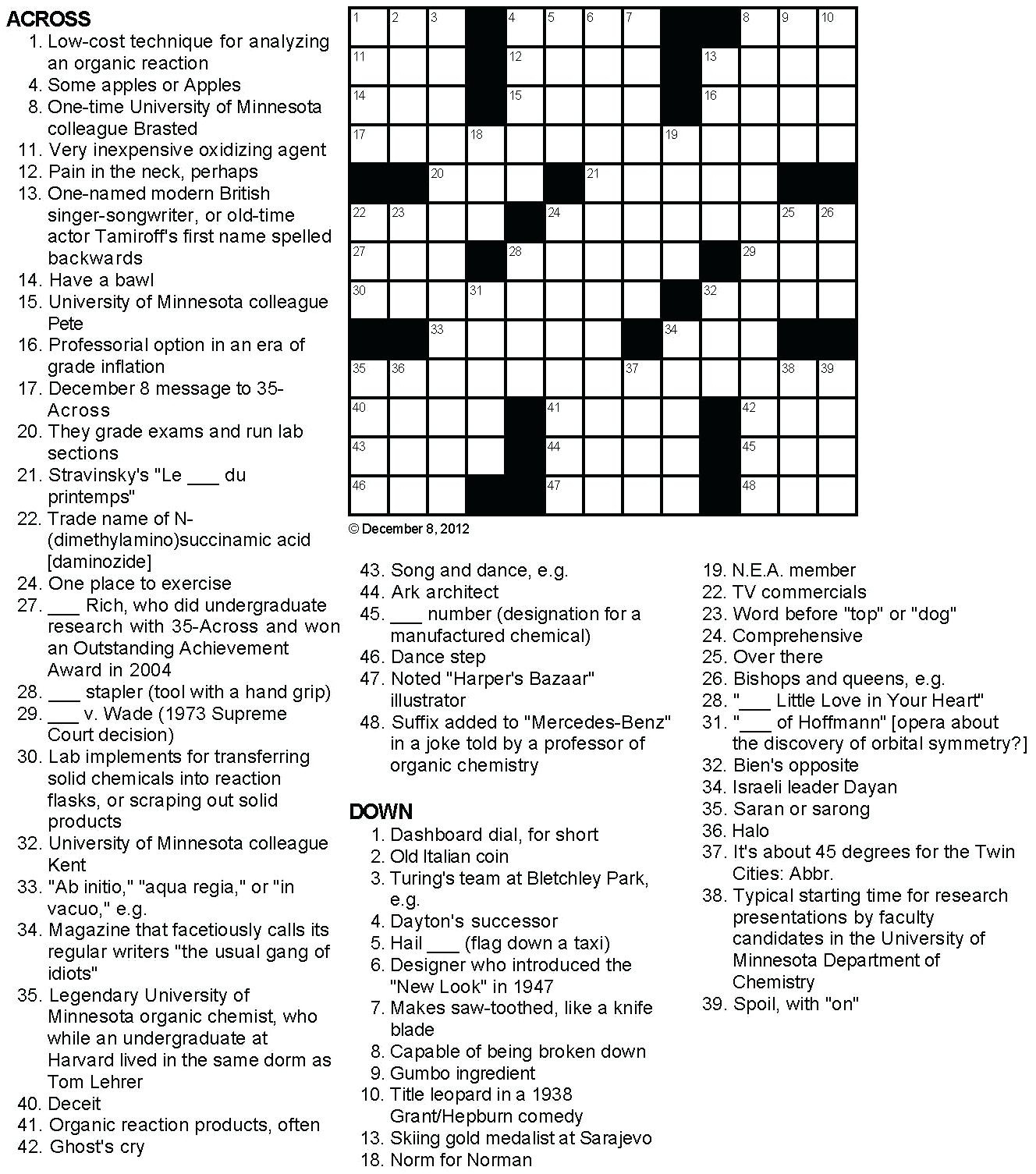 Printable Crossowrd Puzzles Chemistry Tribute Crossword Puzzle Chem - Crossword Puzzles And Answers Printables