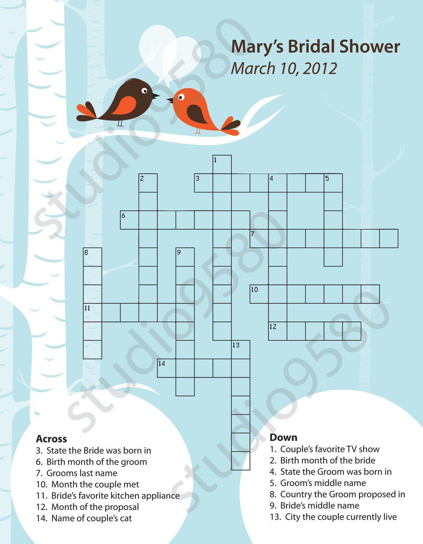 Printable Crossword Puzzle Bridal Shower Game | Bridal Shower - Free Printable Bridal Shower Crossword Puzzle