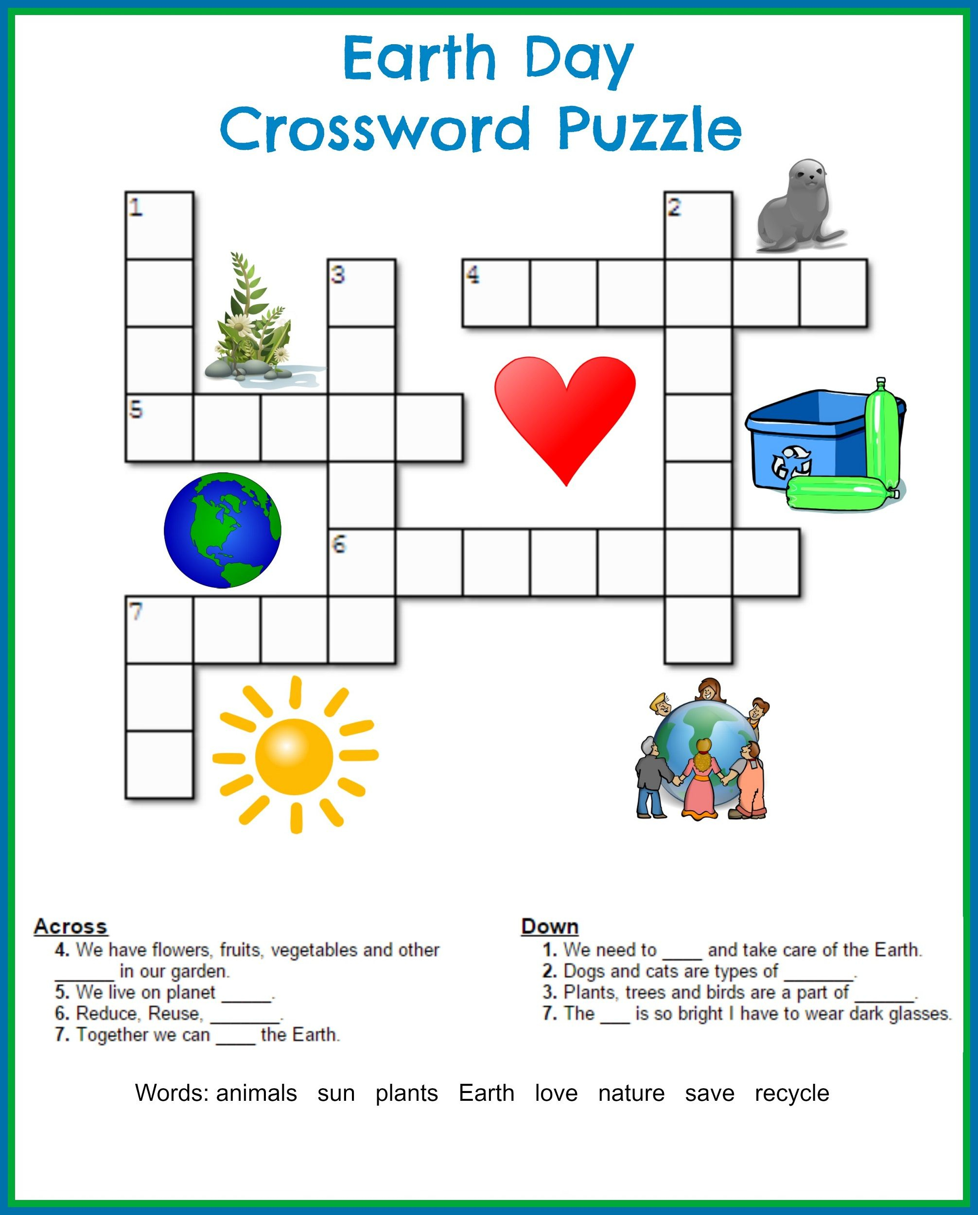 Printable Crossword Puzzles Kids   Crossword Puzzles On Earth - Printable Crossword Puzzle For Grade 2