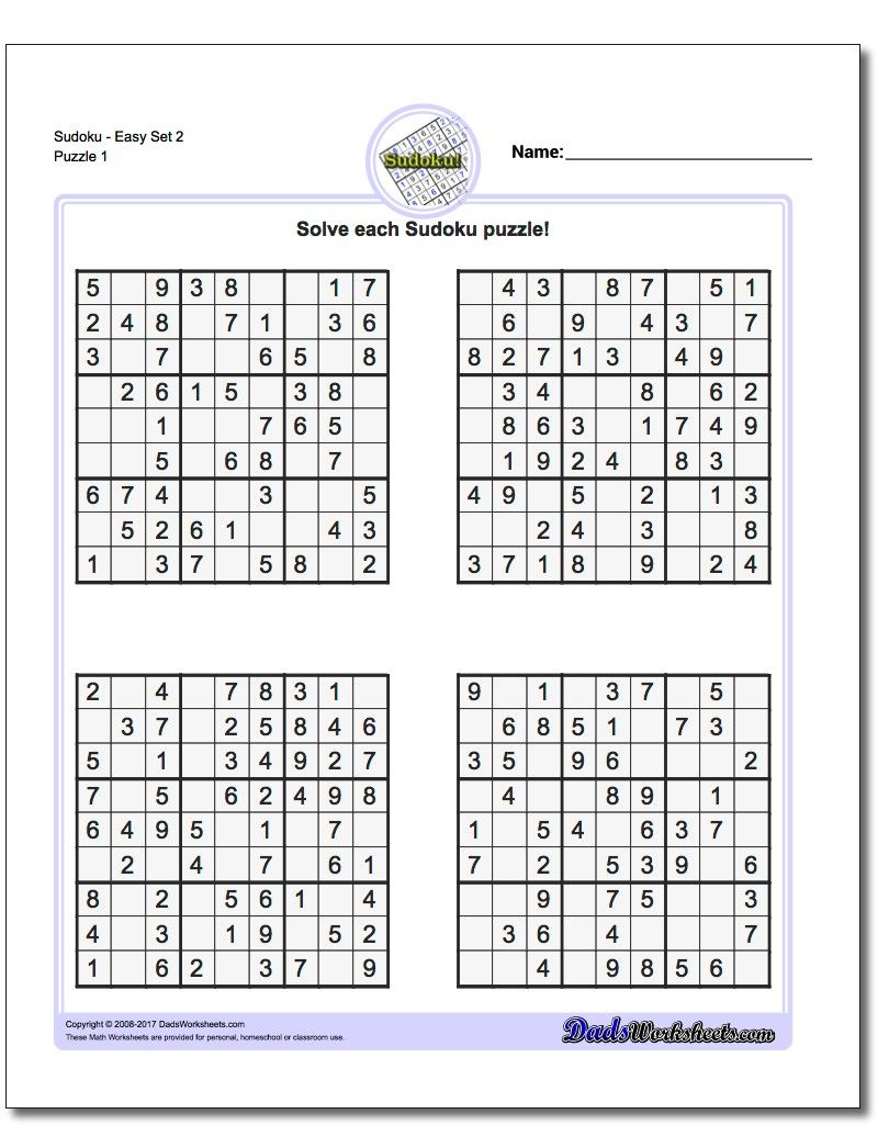 Printable Easy Sudoku | Math Worksheets | Sudoku Puzzles, Maths - Printable Sudoku Puzzles Krazydad