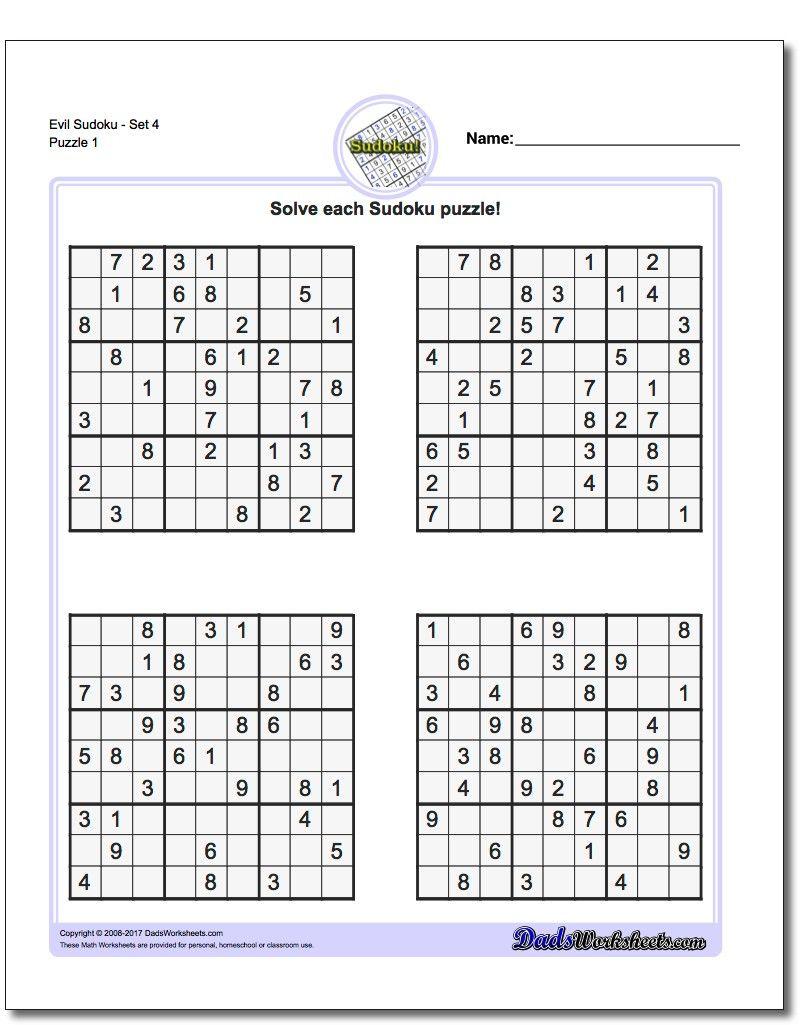 Printable Evil Sudoku Puzzles | Math Worksheets | Sudoku Puzzles - Printable Puzzles By Krazydad