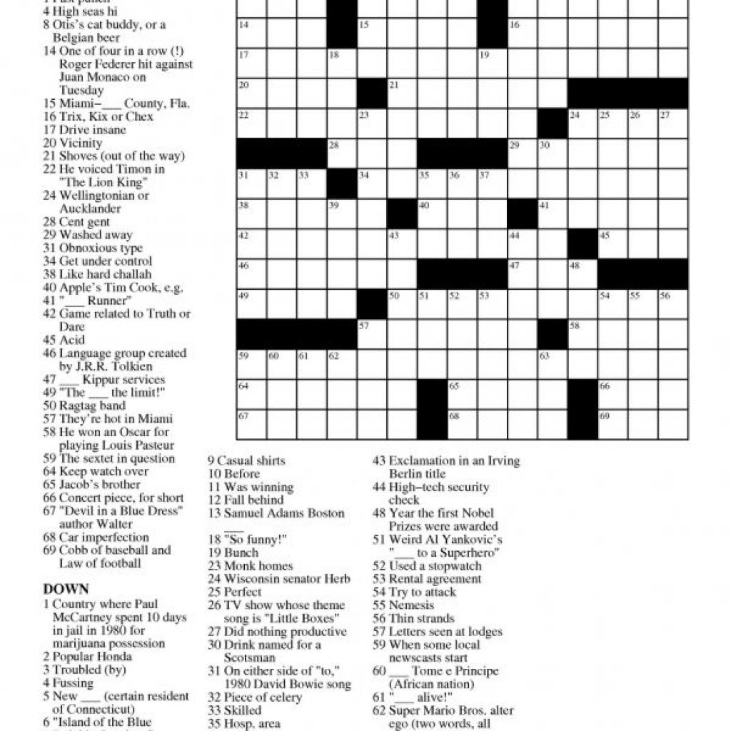 Printable Free Crosswords & Free Printable Crossword Puzzles Sc 1 - Printable Daily Crosswords For March 2019
