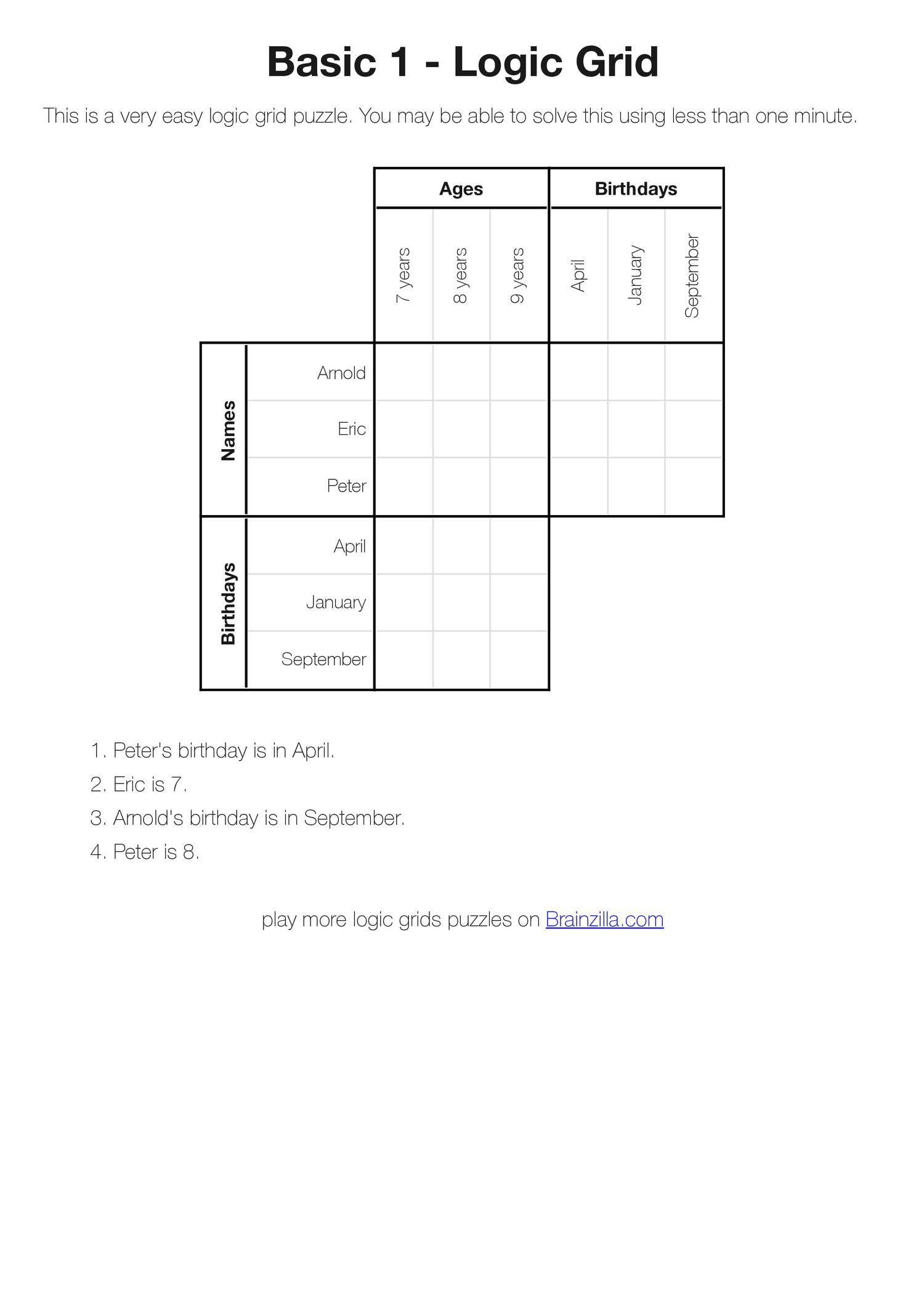 Printable Logic Grid Puzzles (Brainzilla).pdf | Docdroid - Printable Logic Puzzles Pdf