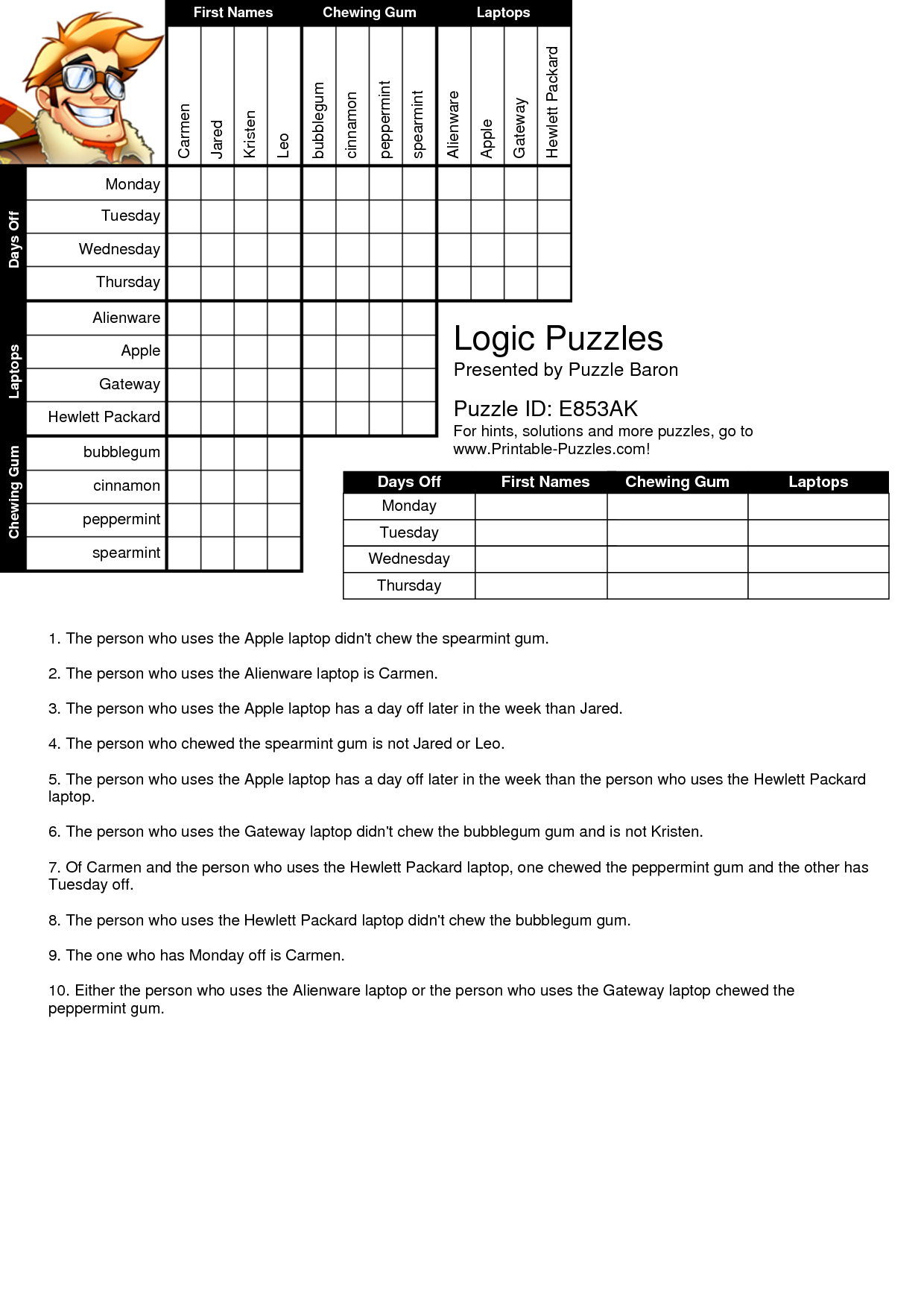 Printable Logic Puzzles Bnuauypi | Children's Arts & Crafts | Logic - Printable Logic Puzzles Grid