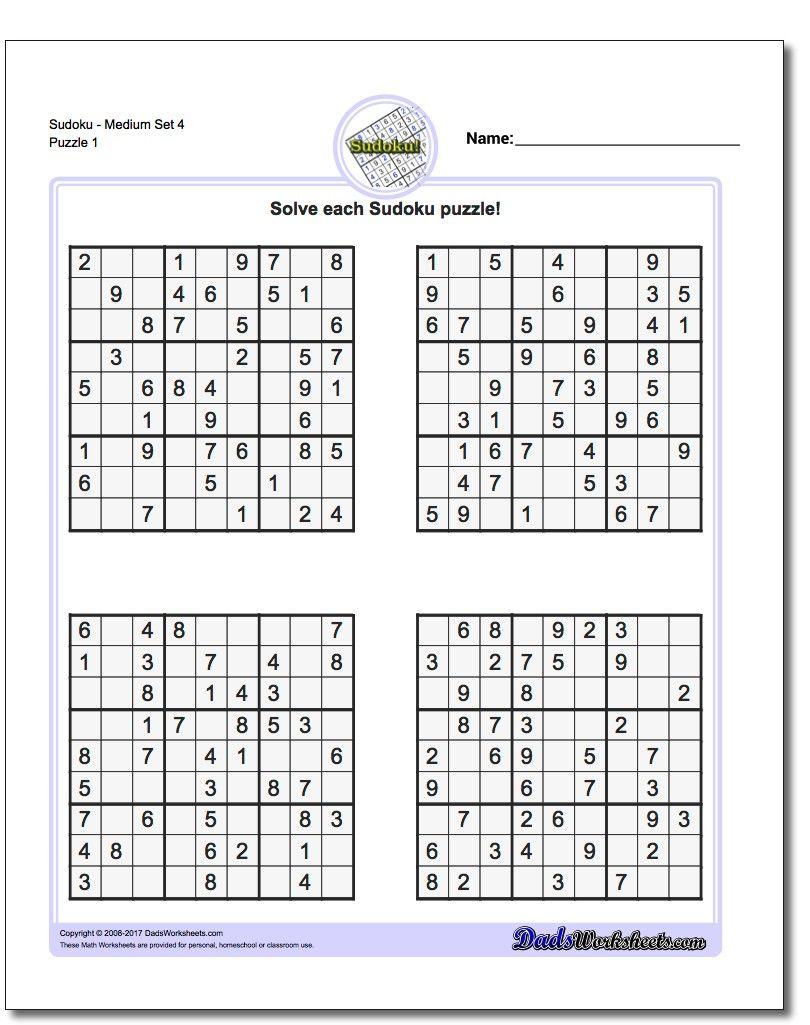 Printable Medium Sudoku Puzzles | Math Worksheets | Sudoku Puzzles - Printable Puzzles And Solutions