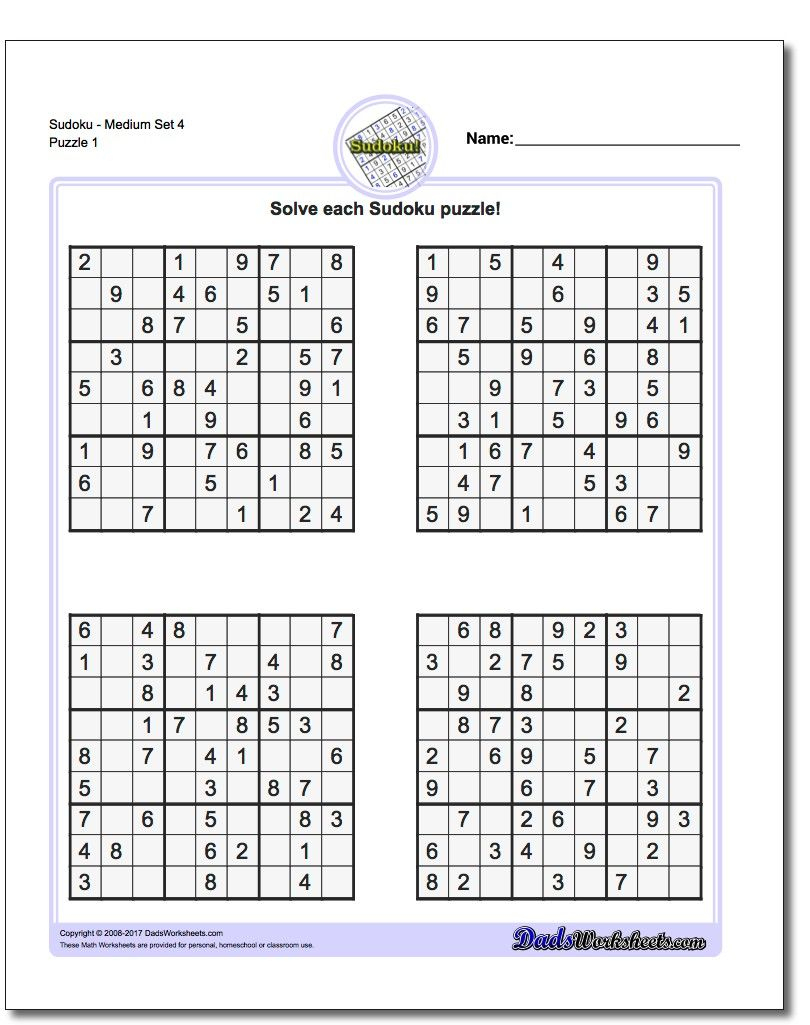 Printable Medium Sudoku Puzzles | Math Worksheets | Sudoku Puzzles - Printable Sudoku Puzzle Medium