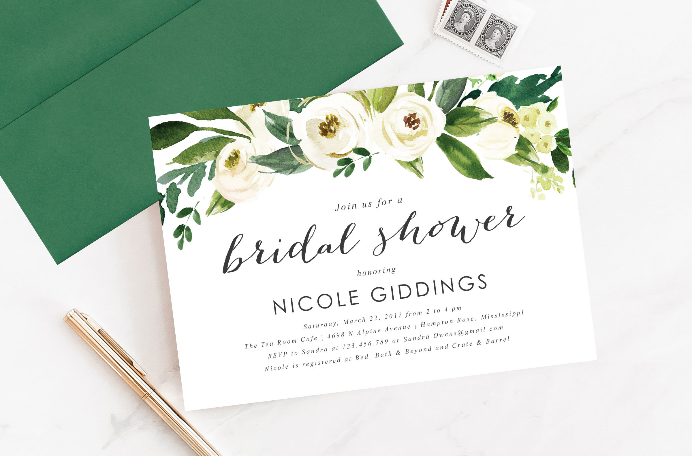 Printable Or Printed Watercolor White And Green Floral Header | Etsy - Printable Dropdown Puzzles