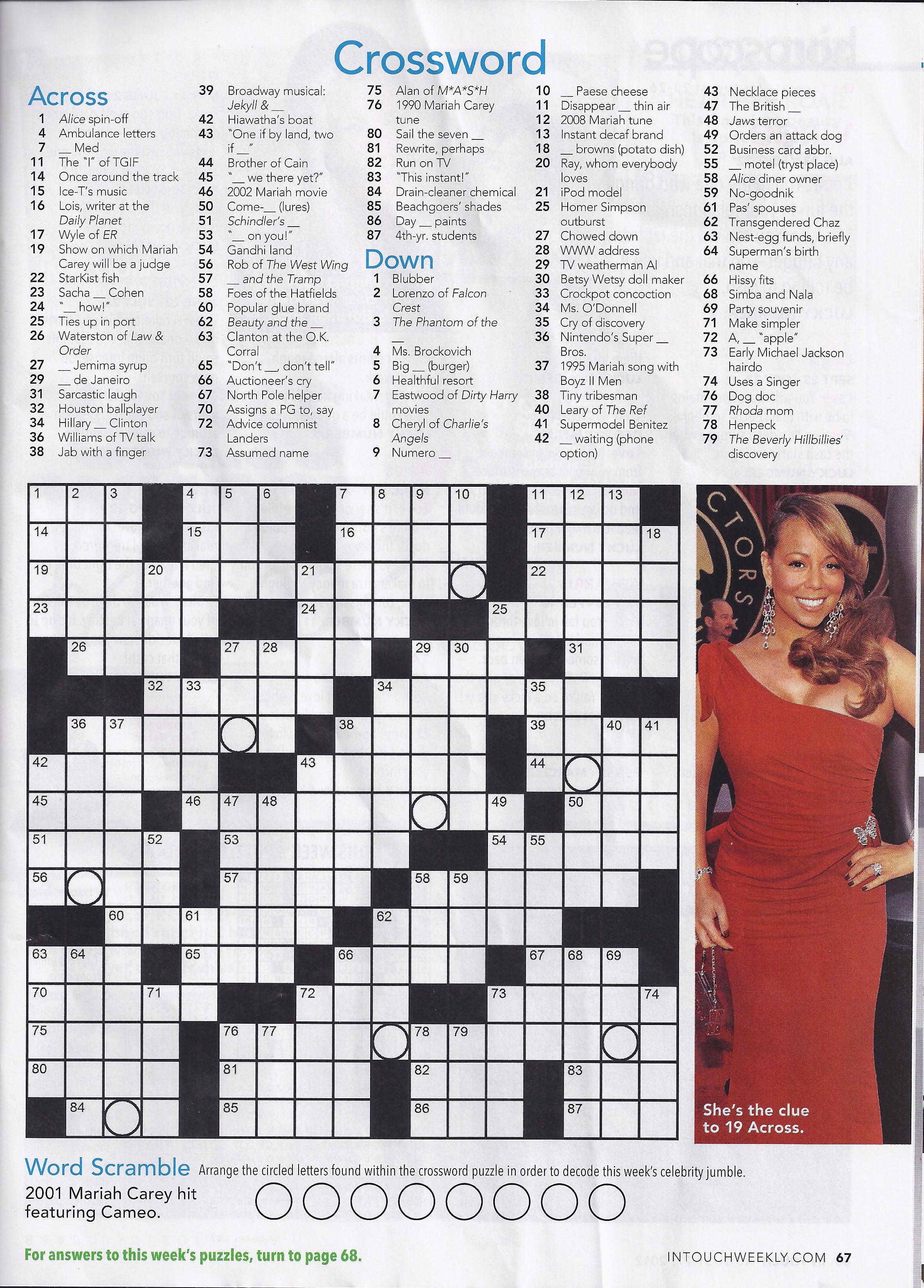 Printable People Magazine Crossword Puzz - Printable People Crossword Puzzles