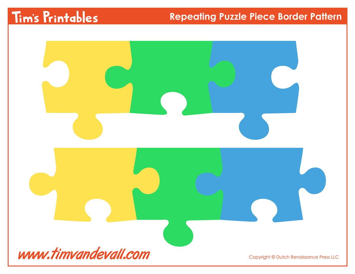 Printable Puzzle Piece Border – Tim's Printables - Printable Puzzle Paper