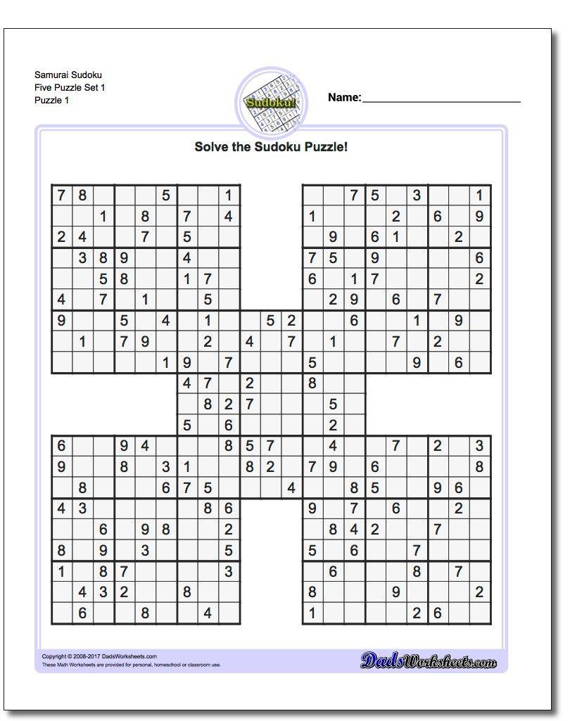 Printable Sudoku Puzzle Samurai Five Puzzle Set 1! Printable Sudoku - Printable Puzzles With Answers