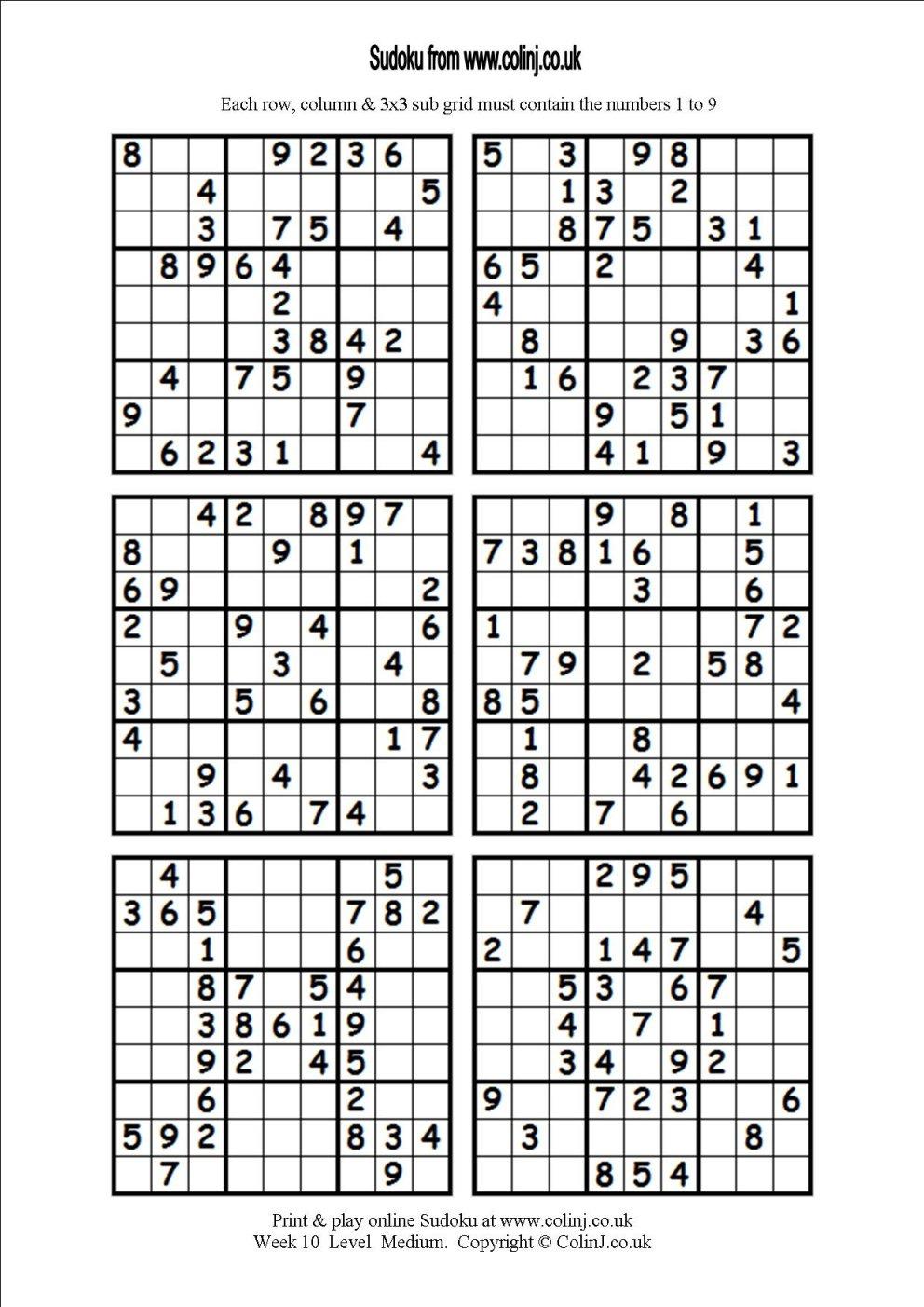 Printable Sudoku Puzzles 6 Per Page   Download Them Or Print - Free - Printable Sudoku Puzzles 1 Per Page