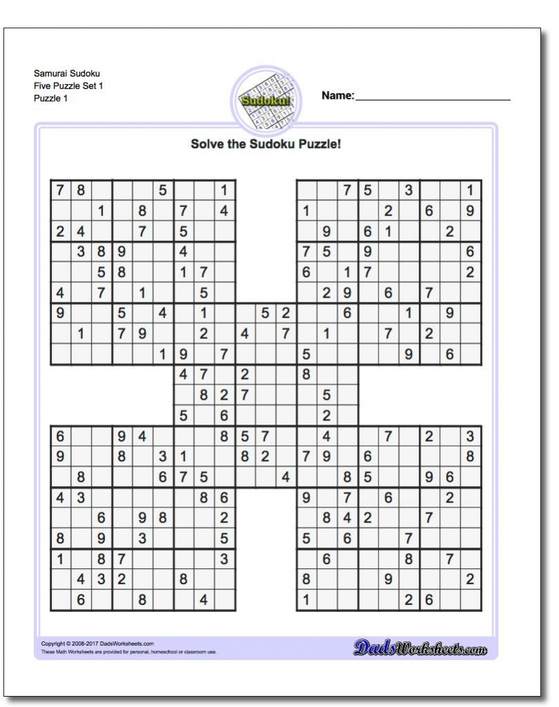 Printable Sudoku Samurai! Give These Puzzles A Try, And You'll Be - Printable Sudoku Puzzles 1 Per Page